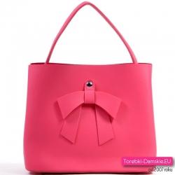 Różowa torebka z kokardą - odcień fuksja