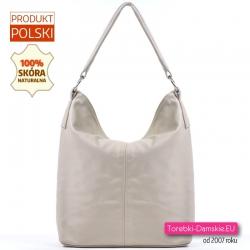 Skórzana duża beżowa torba damska - odcień ecru