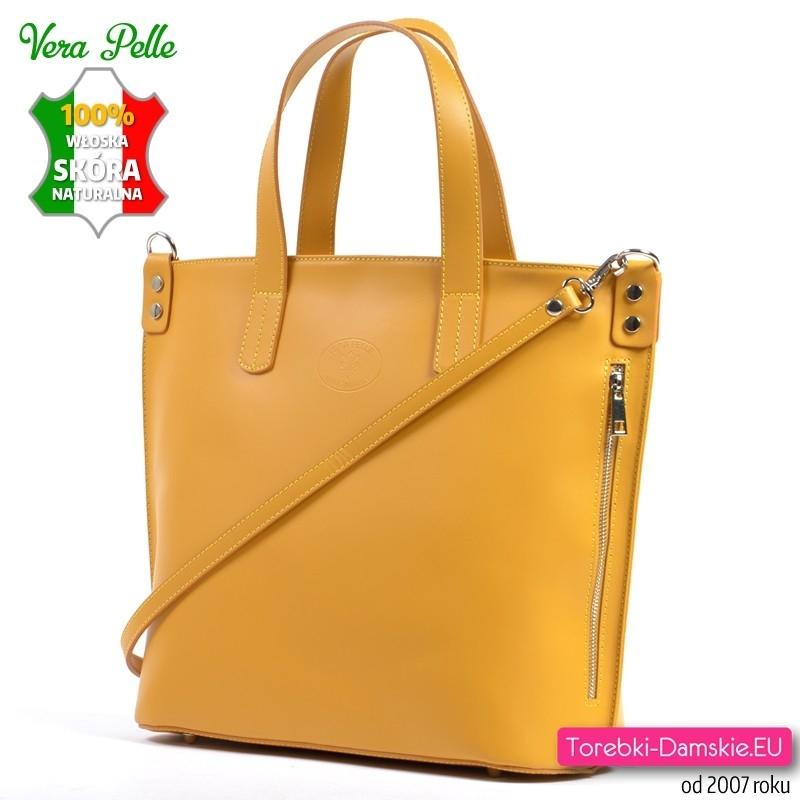Duża żółta włoska torba z gładkiej matowej skóry naturalnej
