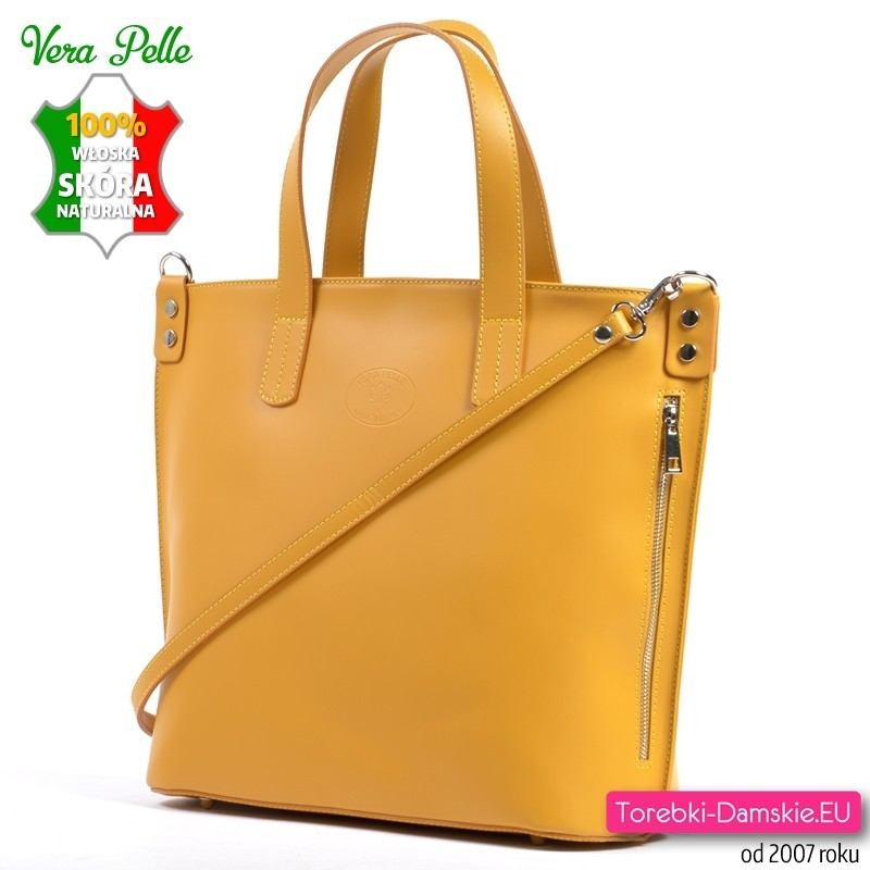 5f0757513ed7a Duża żółta włoska torba z gładkiej matowej skóry naturalnej ...