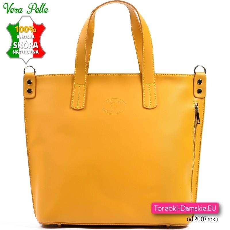 Żółta skórzana torba damska produkcji włoskiej mieści A4