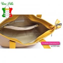 Pojemna praktyczna skórzana torba w kolorze żółtym z 5 kieszeniami