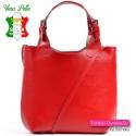 Torebka czerwona skórzana shopper w ładnym odcieniu na ramię lub do przewieszenia
