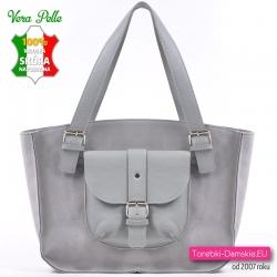 db533023709b2 Szara zamszowa włoska duża torba na ramię - piękny odcień