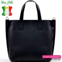 Czarna skórzana włoska duża torebka damska