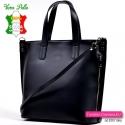 Duża czarna torba włoska z matowej gładkiej skóry naturalnej z paskiem dopinanym do noszenia w przewieszeniu lub na ramieniu i k