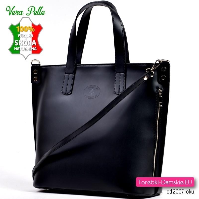 7b90e2054c5b5 Duża czarna torba włoska z matowej gładkiej skóry naturalnej z paskiem  dopinanym do noszenia w przewieszeniu