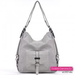 Szara torba damska i plecak w jednym