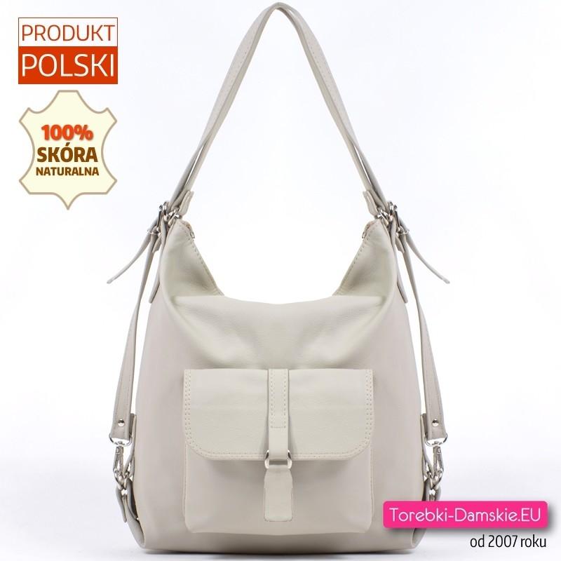 Torebko - plecak PL016 z jasnobeżowej skóry naturalnej ecru
