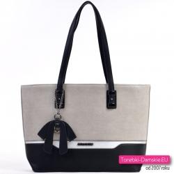 Szaro - czarno - srebrna duża biznesowa torba damska na ramię