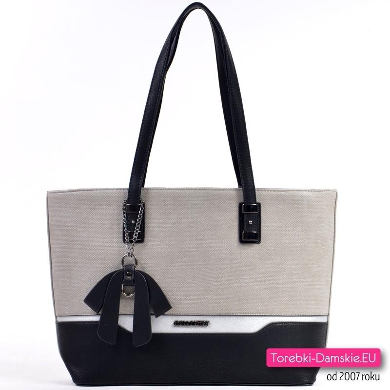 999f15cddceaf Szaro - czarno - srebrna duża biznesowa torba damska na ramię