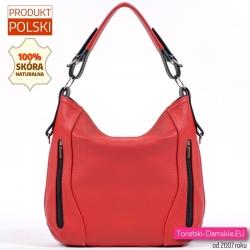 Czerwona skórzana torebka damska z pionowymi suwakami