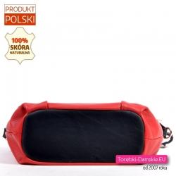 Czerwono-czarna skórzana torebka produkcji polskiej