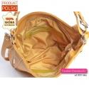Skórkowa żółta torebka na ramię i do przewieszenia z 2 kieszeniami w środku