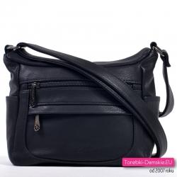 Czarna torebka crossbody średniej wielkości listonoszka dużo kieszeni