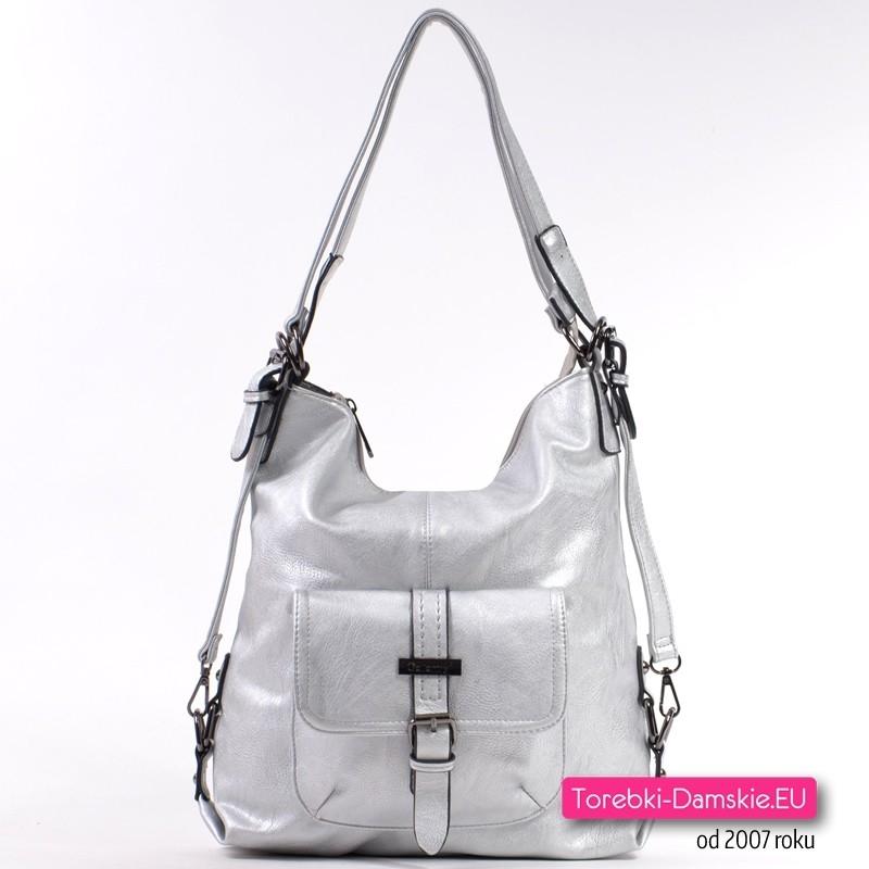 Srebrna torba damska i plecak w jednym