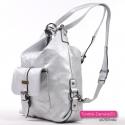 Srebrny plecak damski z kieszonką z klapką z przodu