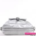Markowy torebko-plecak damski w kolorze srebrnym