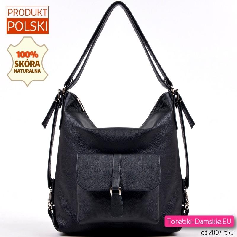 Czarny plecak damski - torebka z groszkowanej skóry