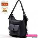 Skórzana czarna torba / plecak 2 w 1 z kieszonką