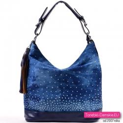 Jeansowa niebieska torebka z cyrkoniami