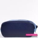 Funkcjonalna jeansowa niebieska torebka z granatowymi elementami z ekoskóry