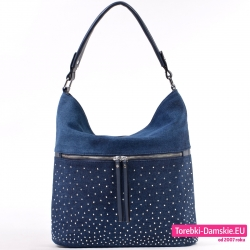 c27b99515c0f5 Jeansowa ciemnoniebieska torebka A4 na ramię z cyrkoniami i suwakiem z  przodu