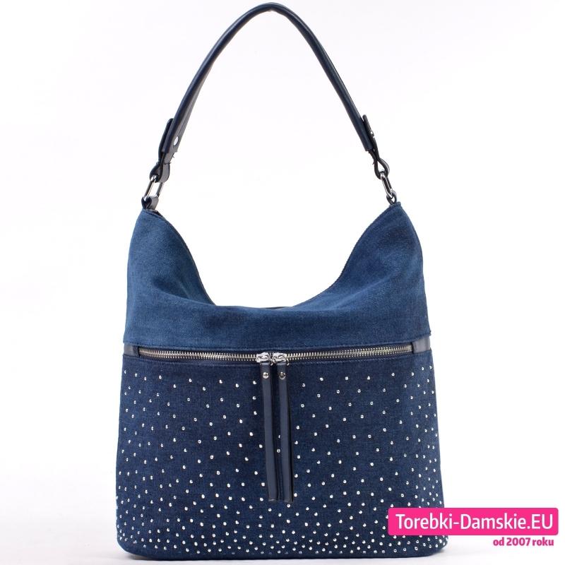 Jeansowa ciemnoniebieska torebka A4 na ramię z cyrkoniami i suwakiem z przodu