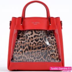 Czerwona torebka z przeźroczystym przodem cętkowana