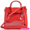Dwie czerwone torebki w komplecie plus długi pasek