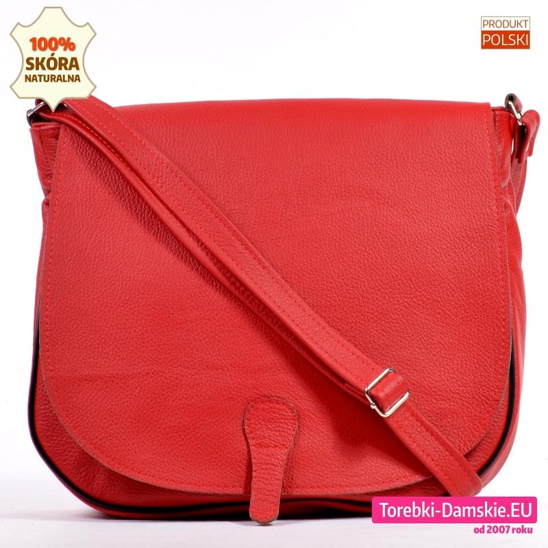Duża czerwona torba z naturalnej skóry
