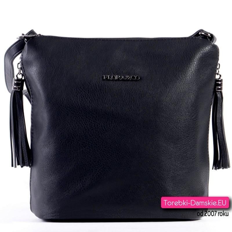 Czarna markowa torebka z kieszonkami i chwostami na bokach