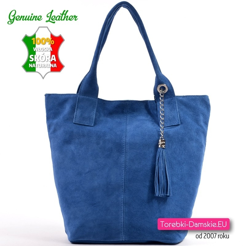 Skórzana torba shopper z niebieskiego zamszu