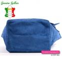 Pojemna duża ale lekka niebieska skórzana włoska torba damska