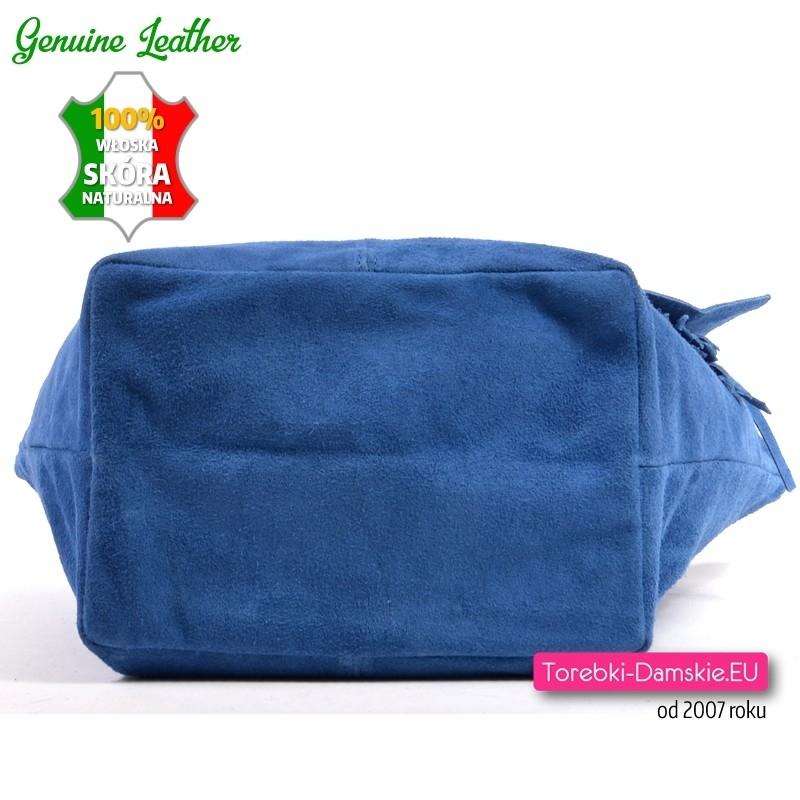 c7023cf3e3bb1 ... Pojemna duża ale lekka niebieska skórzana włoska torba damska
