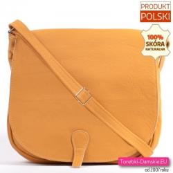 Żółta skórzana torba damska z klapą XL mieści A4