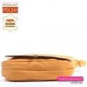 Polska funkcjonalna pojemna torba z klapą z żółtej skóry naturalnej