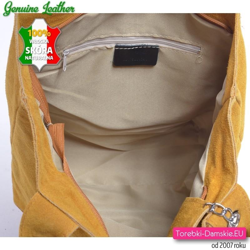 a3be84defee67 ... musztardowej skóry naturalnej · Zamykana ekspresem i wykończona  podszewką pojemna torba shopper z żółtej skóry - zamsz ...