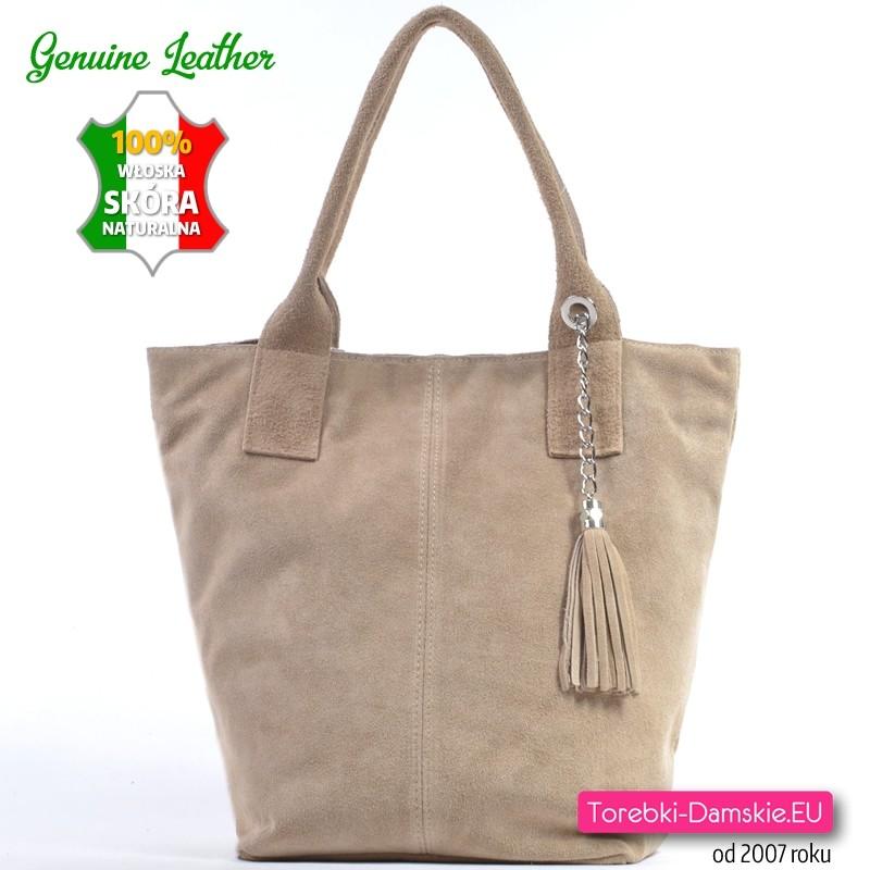 ce7a890aa1230 Beżowa torba ze skóry naturalnej - zamszowy duży shopper
