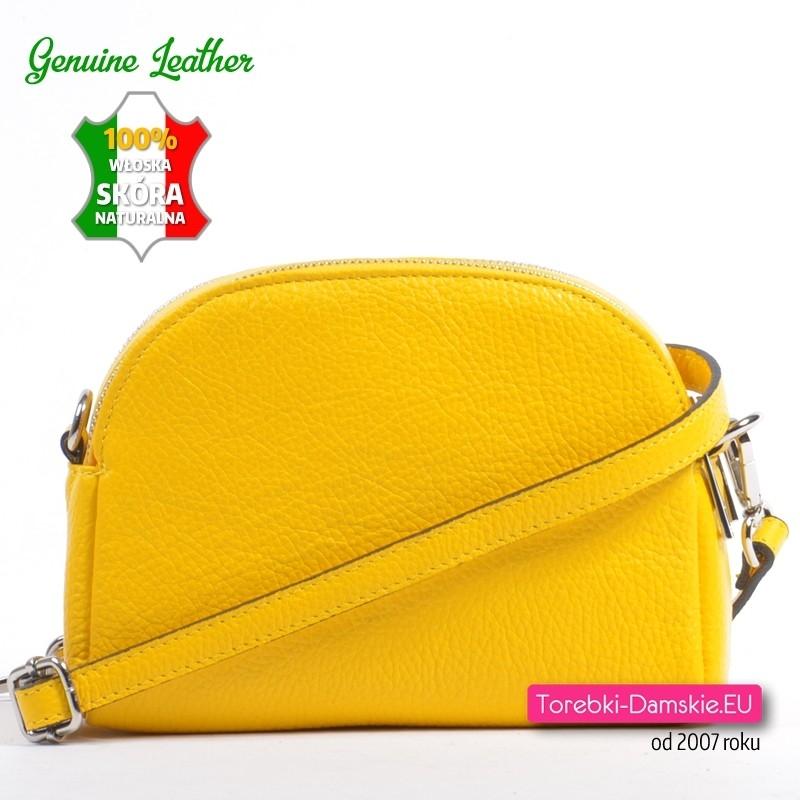 819bb9f4 Żółta dwukomorowa skórzana mała torebka włoska