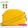 Mała żółta włoska torebka ze skóry dwukomorowa