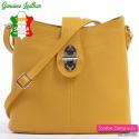 Włoska żółta torebka ze skóry - mały model typu crossbody