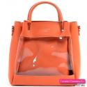 Torebka damska pomarańczowa - przeźroczysty przód i mniejsza druga torebka w komplecie