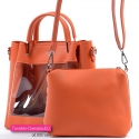 Dwie pomarańczowe torebki w komplecie - większa z przeźroczystym przodem