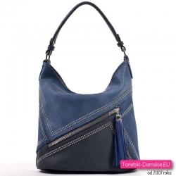 Granatowo - niebieska torebka średniej wielkości