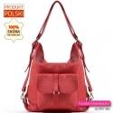 Czerwony skórzany plecak damski - torebka miejska z kieszonką z klapką z przodu