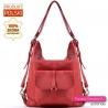 Czerwony skórzany plecak damski - torebka miejska na ramię w jednym