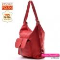 Torbo - plecak damski z czerwonej prawdziwej miękkiej skóry