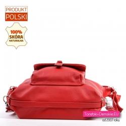 Plecak damski z czerwonej skóry naturalnej z kieszonką z przodu