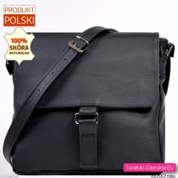 Skórzana średnej wielkości czarna torebka polska do przewieszenia w klasycznym fasonie